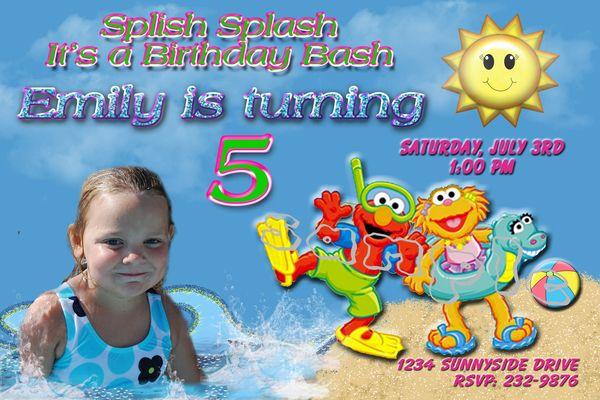 Elmo pool party invitations Birthday party ideas Pinterest