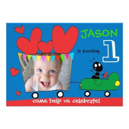 Cute Cartoon Love Car Babys First Birthday Card