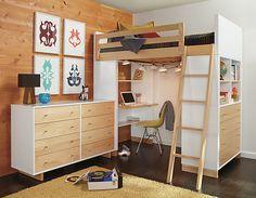 Etagenbett Für Zwei Kinder : Room & board hochbett kleines kinderzimmer lernplatz schreibtisch