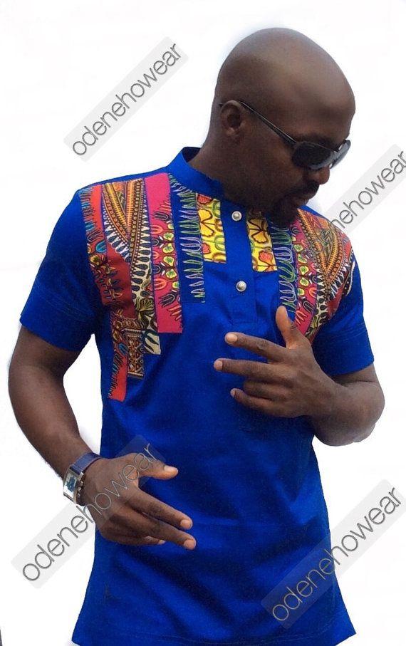 Odeneho Wear Men's Blue Polished Cotton Top/ Dashiki Stripes Design. African Clothing