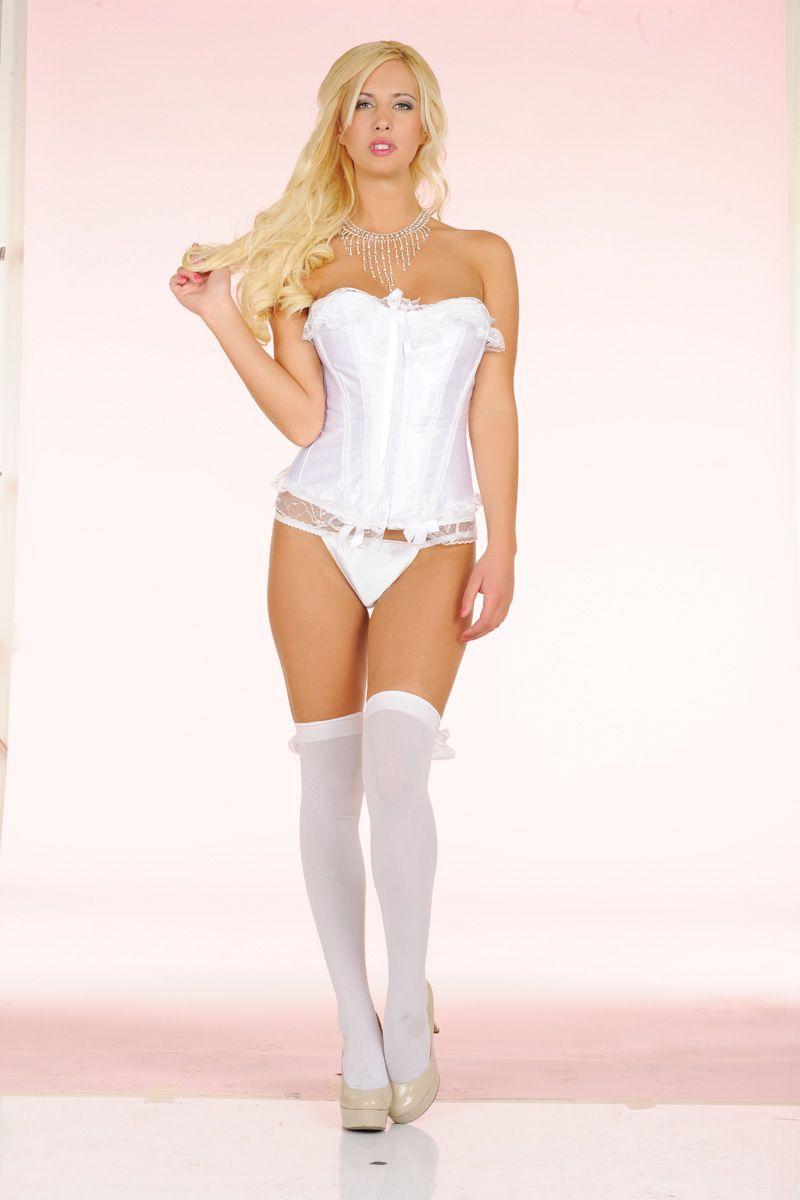 cd98c49a8b Bridal lingerie white corset stockings model