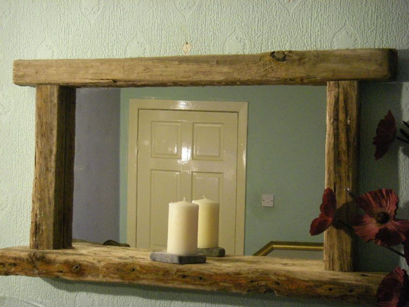 large driftwood mirror with shelf featuring chunky frame with shelf for candles etc rustic mirror hand crafted variation in wood will be present due to