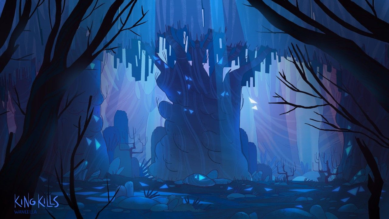 The mysterious Waneella Pixel art background, Fantasy