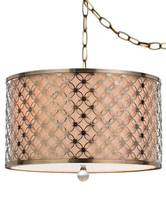 Antique Brass Beige Linen Fabric Plug In Pendant Light Drum Swag