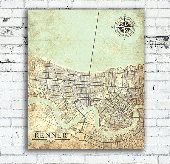 KENNER LA Canvas Print Louisiana City Vintage map Wall Art poster