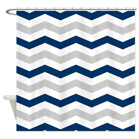 Navy White And Silver Chevron Shower Curtain On Cafepress Com Boy Decor Gray Shower Curtains Chevron Shower Curtain