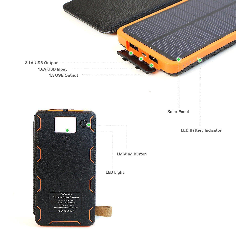 X Dragon 10000mah Solar Power Bank With 3 Solar Panels Solar Power Bank Solar Charger Solar Panels
