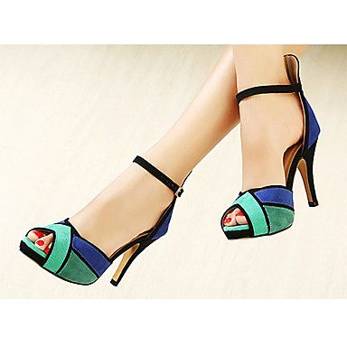 Women's Shoes Tri-Color Peep Toe Suede Upper Sandals More Color Available - USD $ 34.99