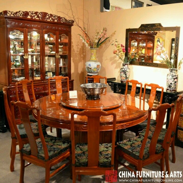 Chinese Inspired Round Formal Dining Table With A Lazy Susan
