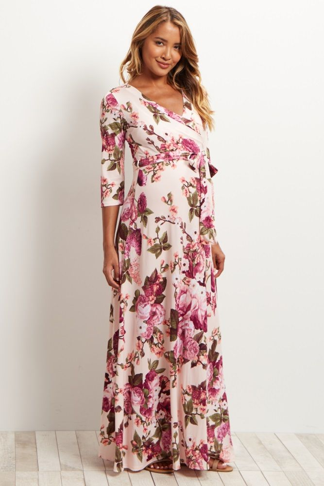 Light Pink Floral Draped 3/4 Sleeve Maternity Maxi Dress | Pinterest