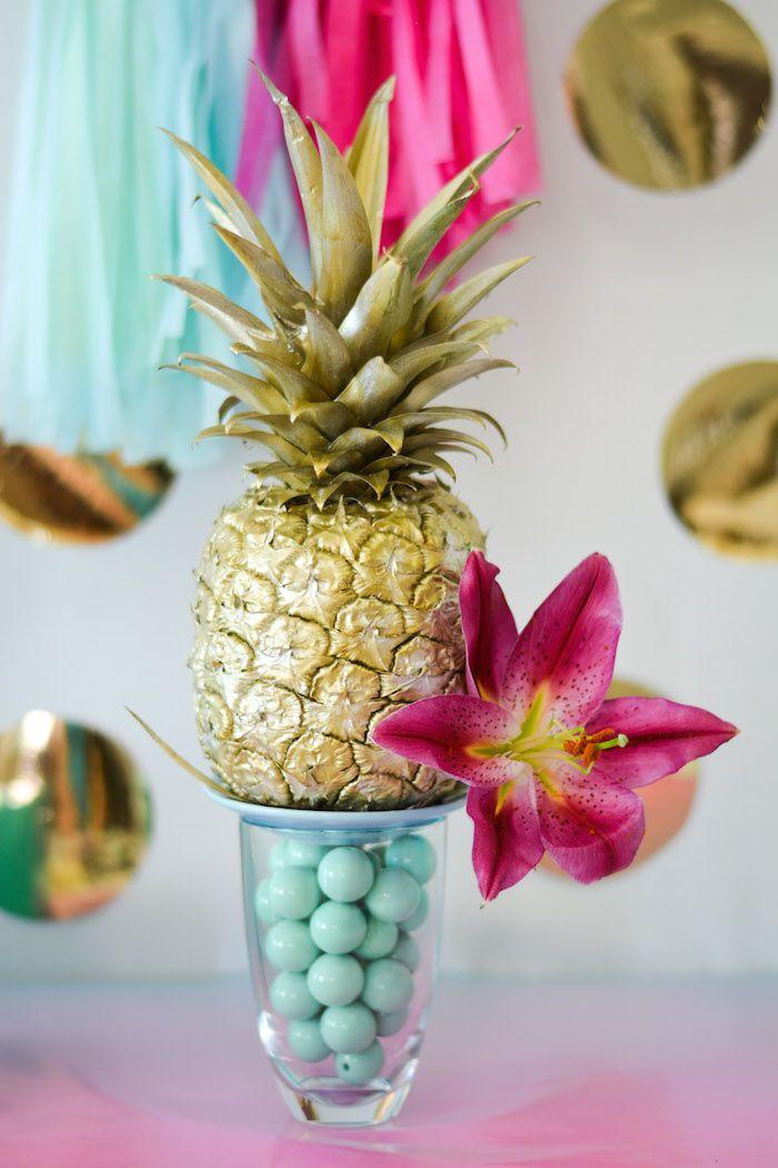 29b223c0de6 Tropical Aloha themed Bridal Shower via Kara s Party Ideas