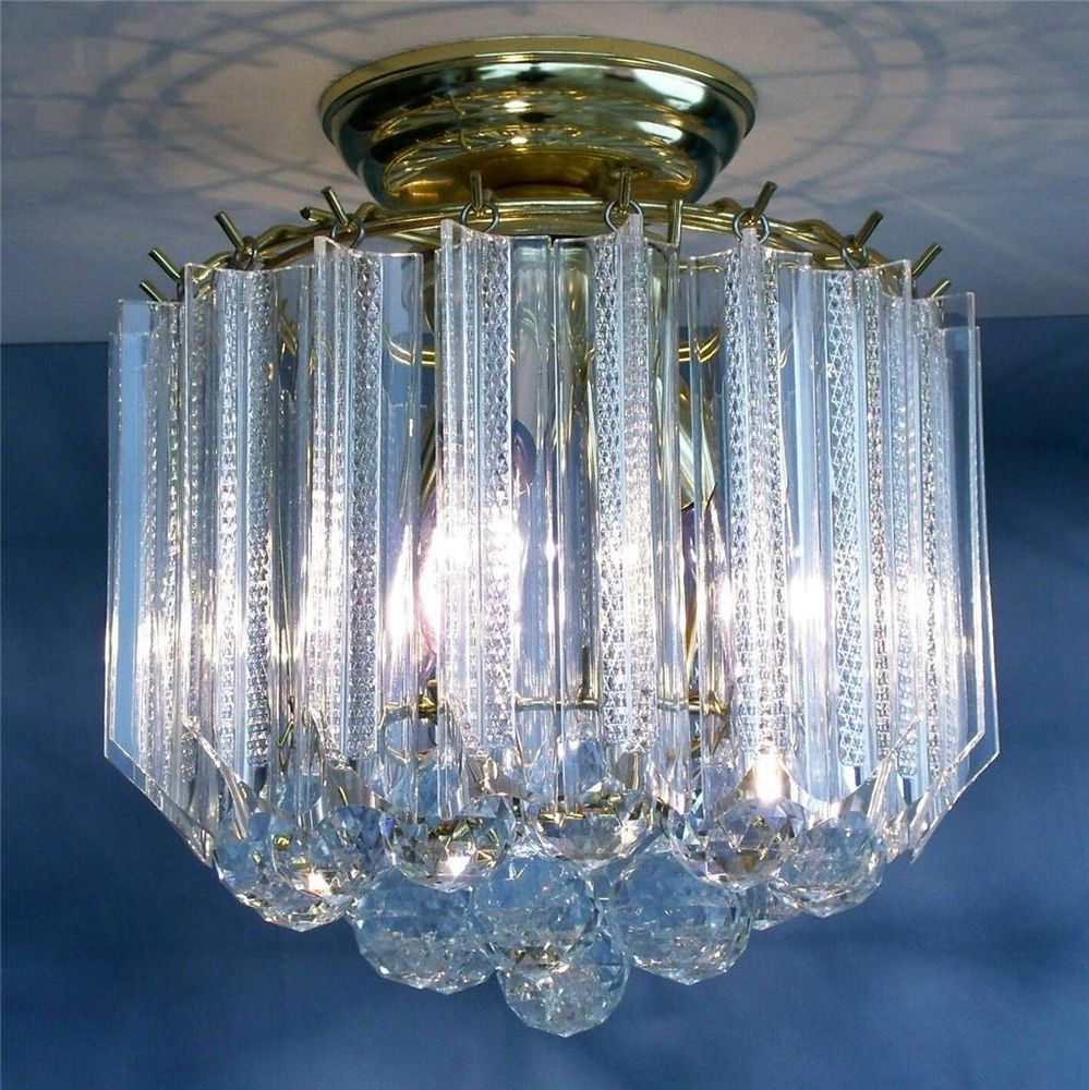 08dc68b45139 Mid Century NOS Hollywood Regency 4-Tier Chandelier Lucite Brass Ceiling  Light