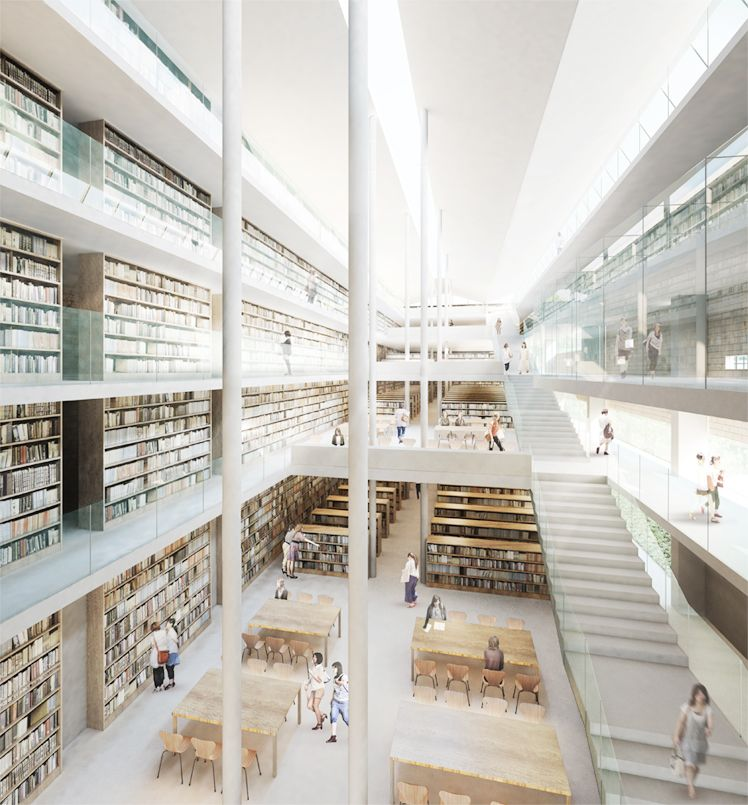 Kyoto women s university library bibliotecas for Edificios escolares arquitectura