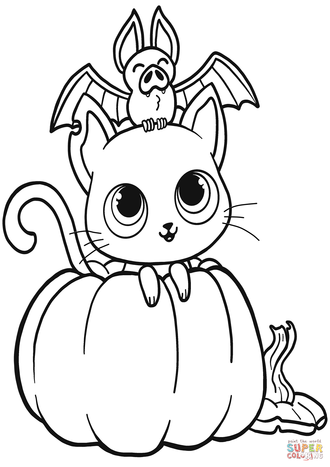 Bat Cat And Pumpkin Coloring Page