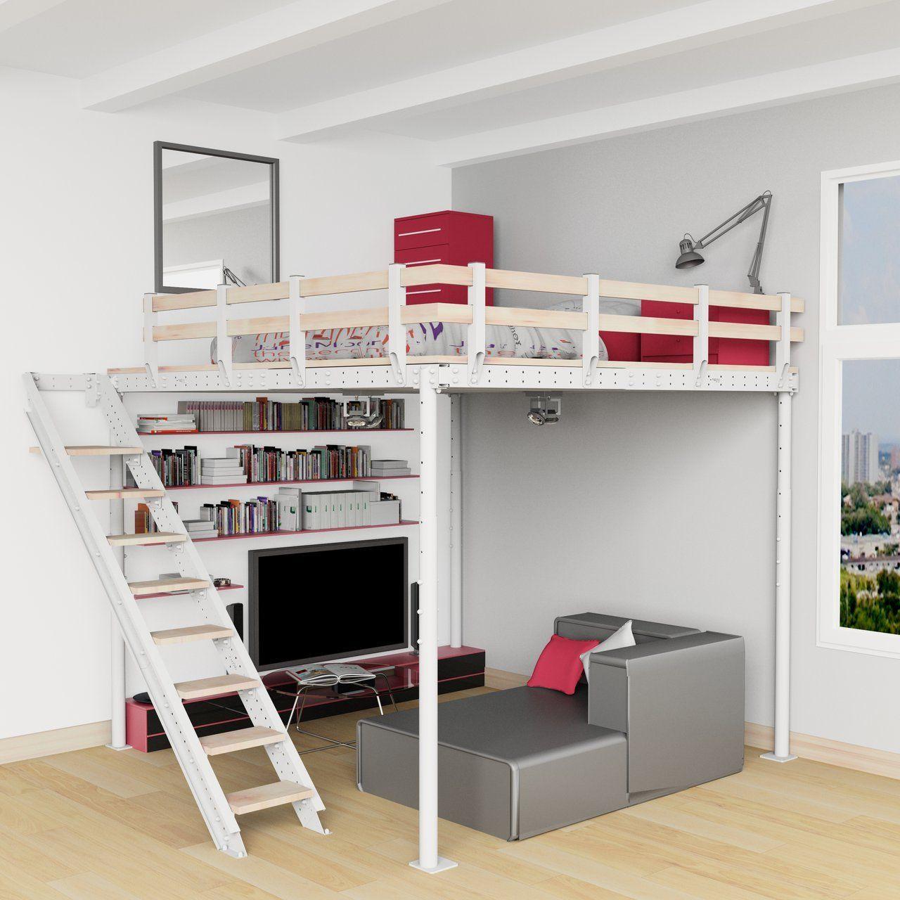 DIY Loft Bed Kit Loft spaces, Mezzanine bed, Kids bunk beds
