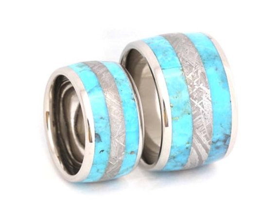 Crushed Turquoise And Meteorite Ring Set Mens Womens Wedding