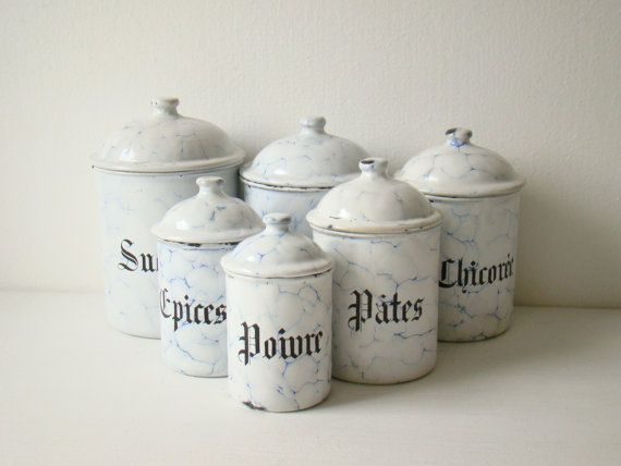 Antique French Enamel Kitchen Canisters Six Vitreous Blue Enwire Shabby Chic Storage
