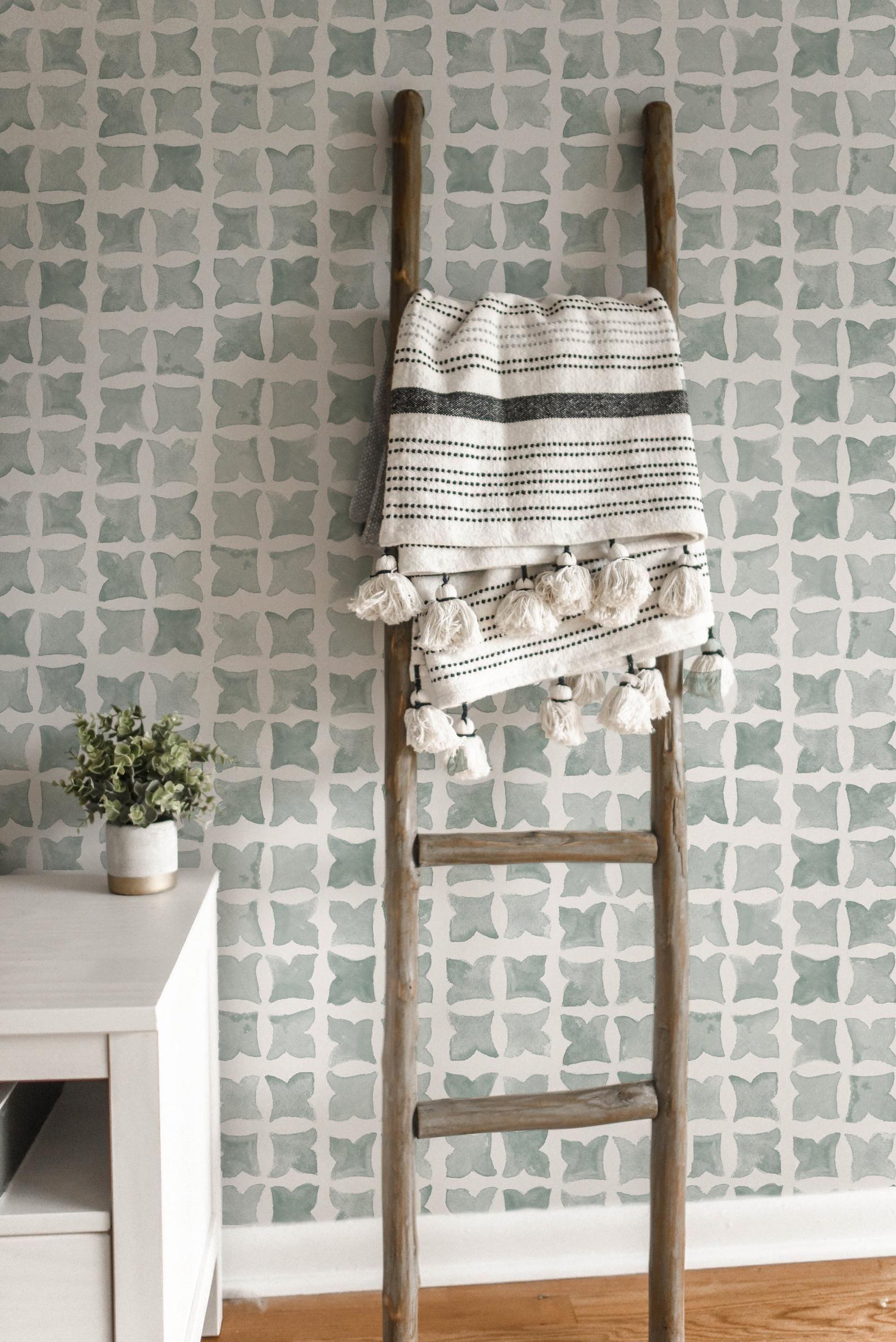 Moroccan Tile Wallpaper Sage Color Removable And Self Etsy Tile Wallpaper Moroccan Tile Accent Wall