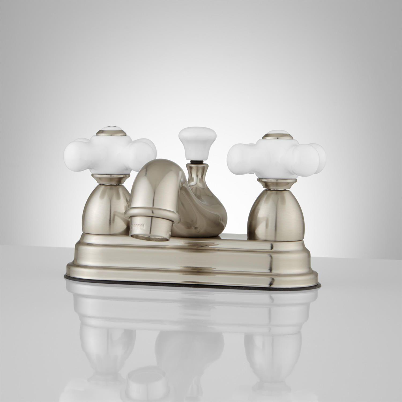 Chicago Bathroom Faucet - Porcelain Cross Handles | Bathroom ...