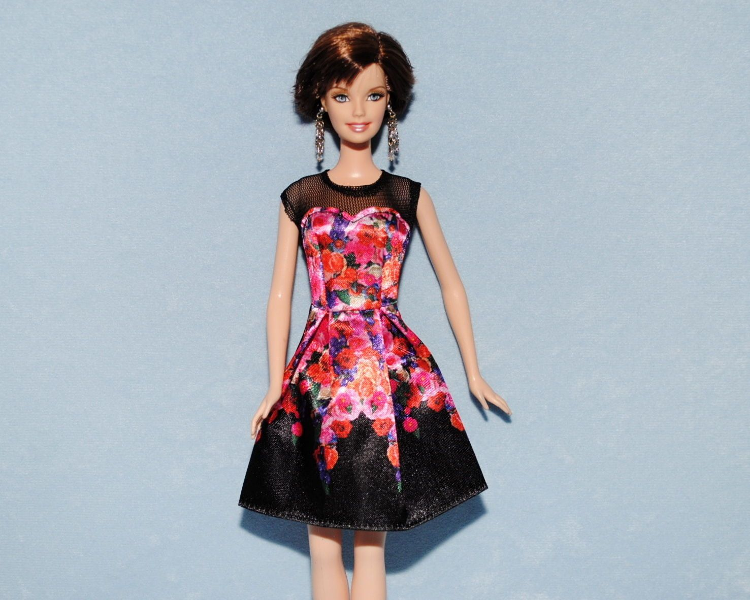 PINK Orange & Purple Floral Print on Black Genuine BARBIE Sleeveless ...