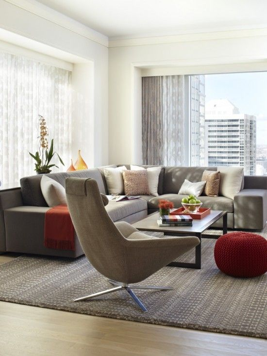 gray couch red accents subtle patterned gray rug and curtains rh pinterest com