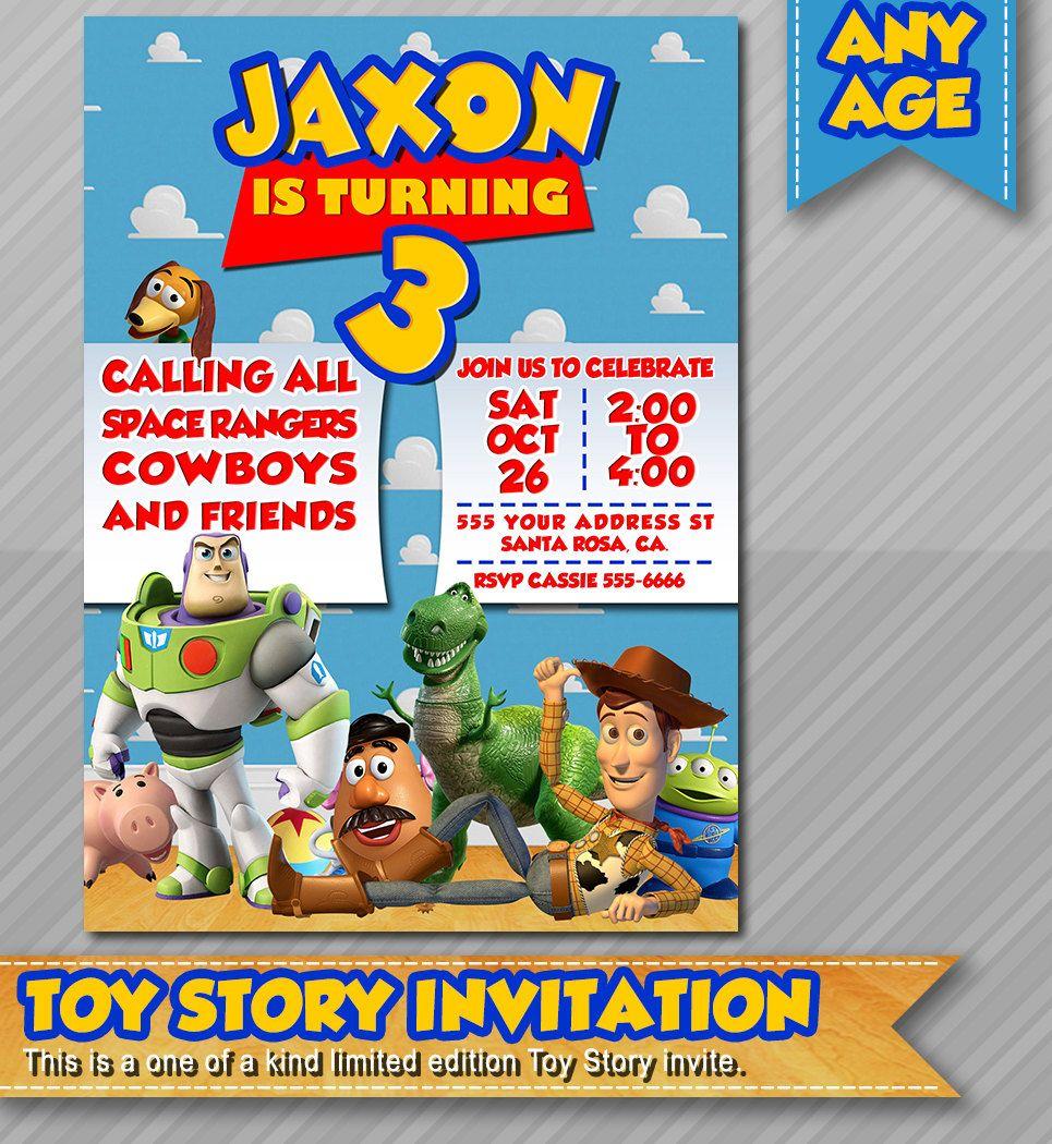 Toy Story Invitation, Toy Story Birthday Invites, Disney Pixar ...
