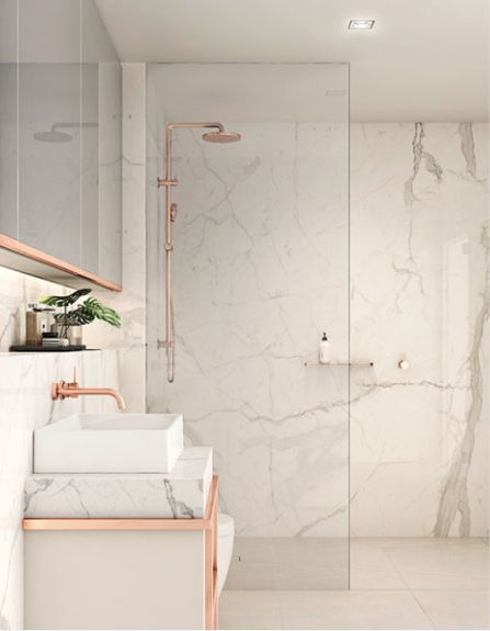 Rose Gold Marble Does It Get Any Better Designed By Plus Architecture Bathroomdesign Bathroom Interior Design White Marble Bathrooms Bathroom Interior