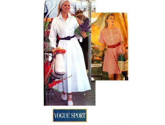Vintage Shirt Dress Plus Size Classic 90\'s Vogue 8255 Midi Length ...