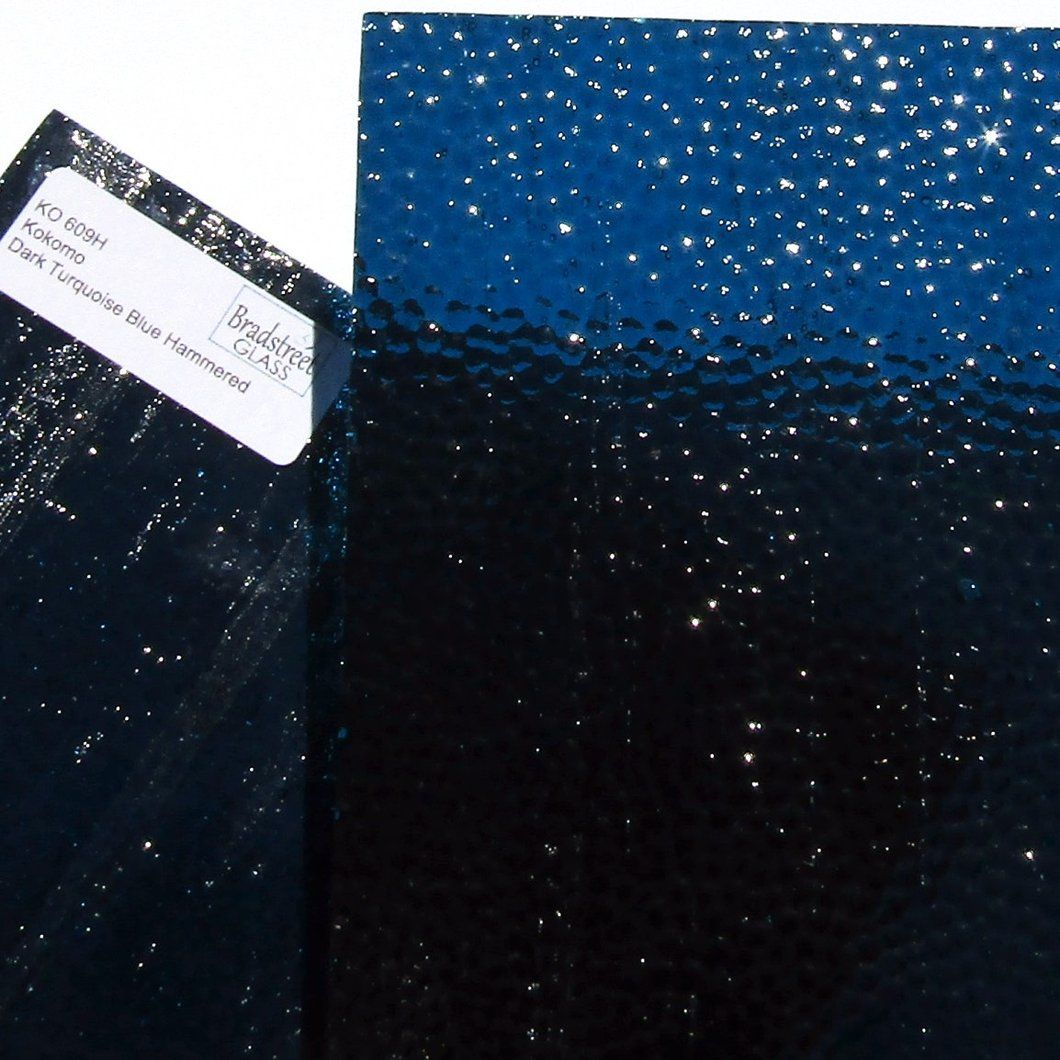 Dark Turquoise Blue Stained Glass Sheet Hammered Texture Cathedral Transparent Kokomo Ko 609h Kokomo Stained Glass Glass