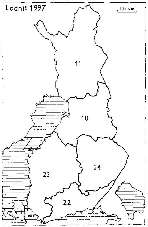Laanit 1997 10 Oulun Laani 11 Lapin Laani 12 Ahvenanmaan