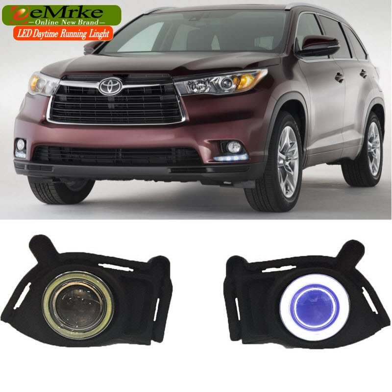 148.00$  Watch now - http://ali5pe.worldwells.pw/go.php?t=32710269780 - eeMrke COB Angel Eyes DRL For Toyota Highlander Kluger XU50 2015 2016 Fog Lights H11 55W Halogen LED Daytime Running Lights Kits