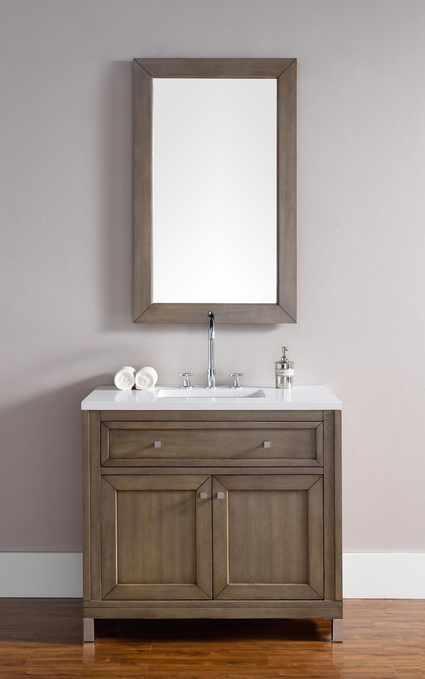 Chicago 36 Single Sink Bathroom Vanity Cabinet White Washed