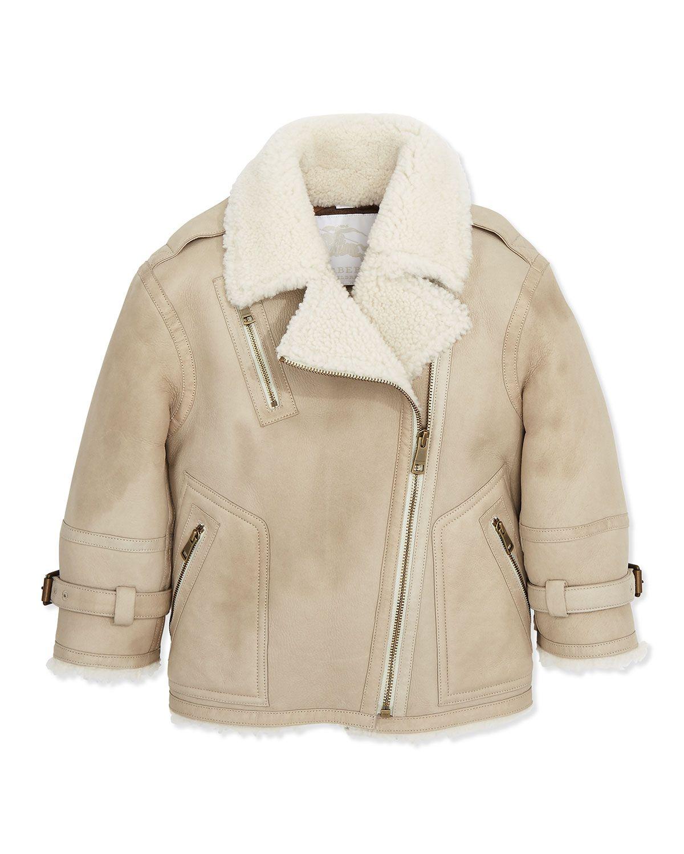 Burberry Shearling Leather Biker Jacket 6y 10y Fur Leather Jacket Girls Designer Clothes Biker Jacket [ 1500 x 1200 Pixel ]