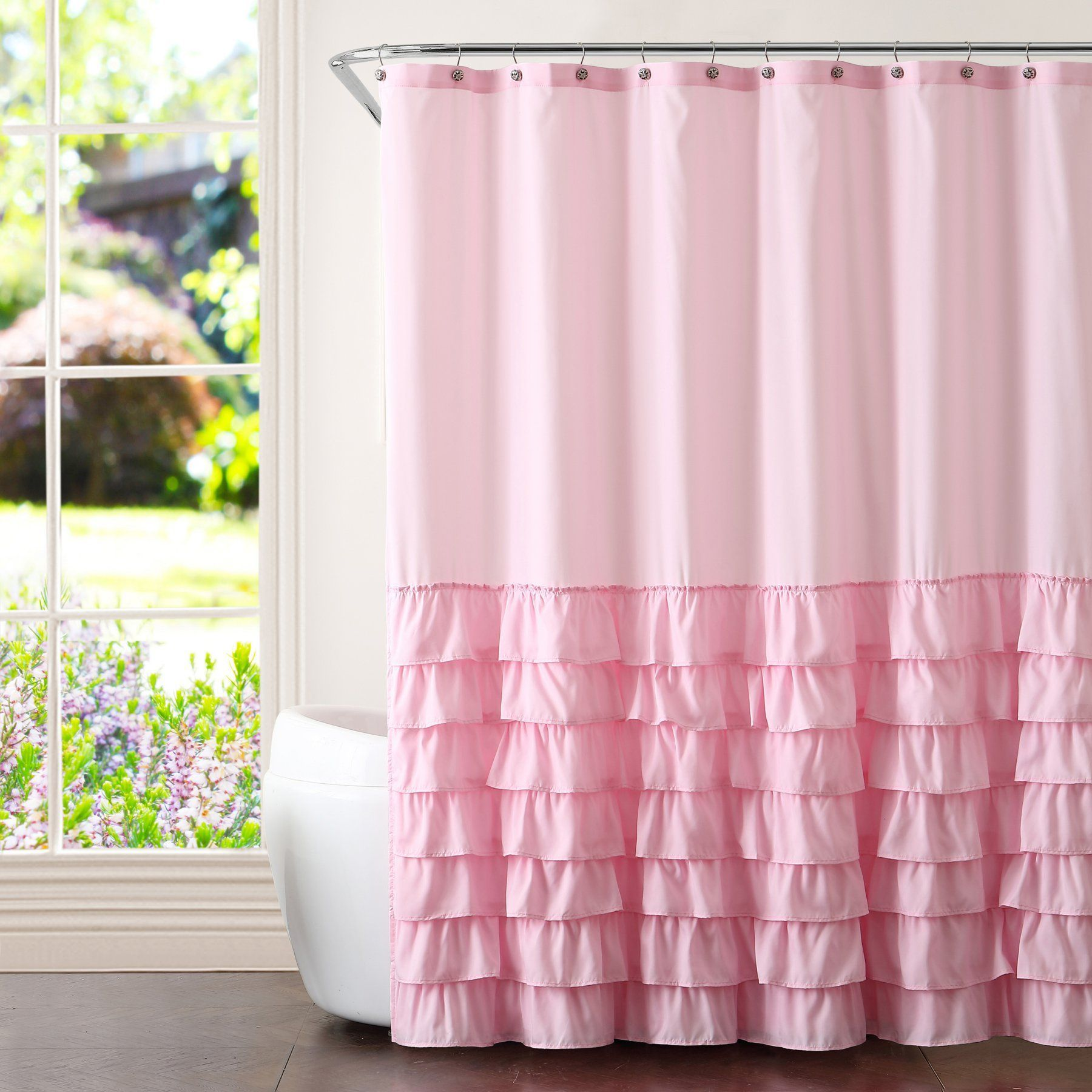 Better Homes and Gardens Ruffled Shower Curtain with Curtain Hooks
