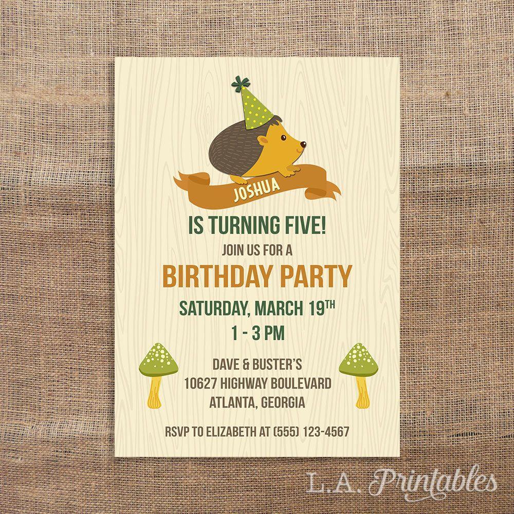 Hedgehog Birthday Invitation, Little Boys Birthday Party Invitation ...