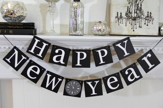 happy new years decorations new years banner new year garland party decorations 2200 via etsy