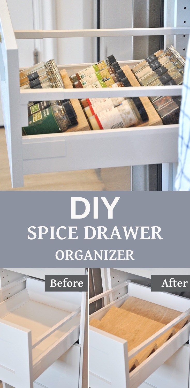 DIY Spice Drawer Organizer (Video) | Kitchen Organization - hydrangea treehouse #kitchenorganizationdiy