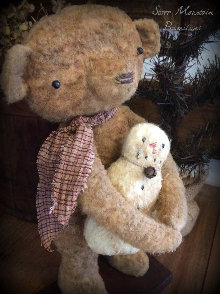 Primitive Bear And Snowman Made By Me Using A Sweet Meadows Farm Extraordinary Sweet Meadows Farm Patterns