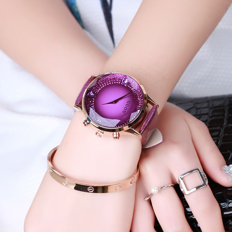 >> Click to Buy << HK GUOU Brand Quartz Lady Watch Rhinestone Waterproof Women's Watch Genuine Leather Upscale Large Dial Luxury Gift Wristwatches #Affiliate