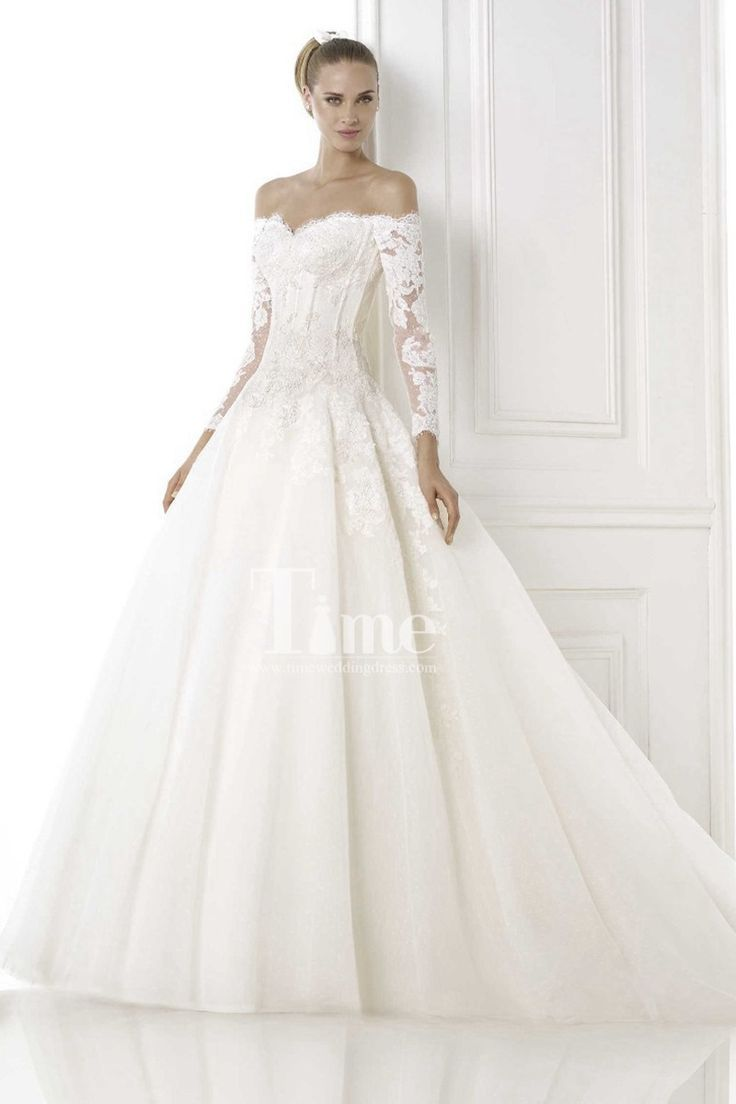 Ball Gown Off the shoulder Long Sleeves Wedding Dresses with Buttons ...
