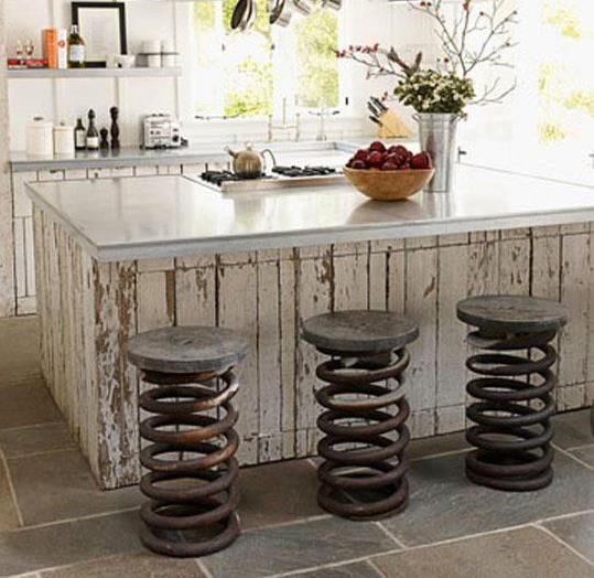 Kitchen Stools Made From Truck Springs