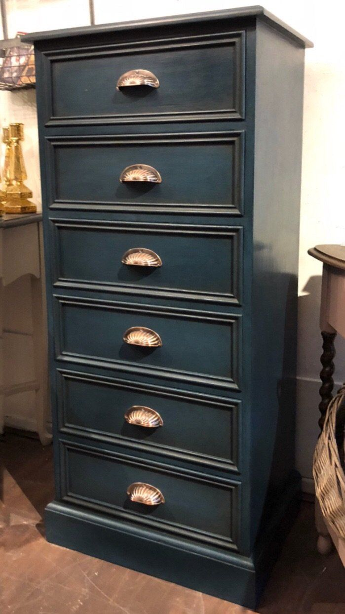 Pine tallboy chest of drawers painted with Vintro Luxury