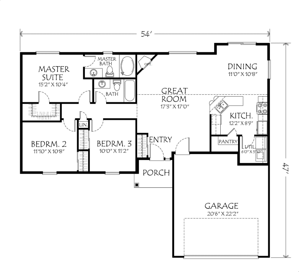 open concept 3 bedroom house plan small house one story