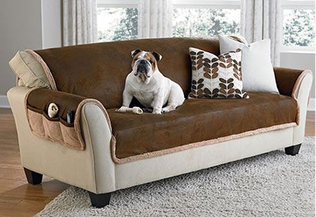 Sure Fit Slipcovers Vintage Leather Furniture Cover Loveseat Pet Throw