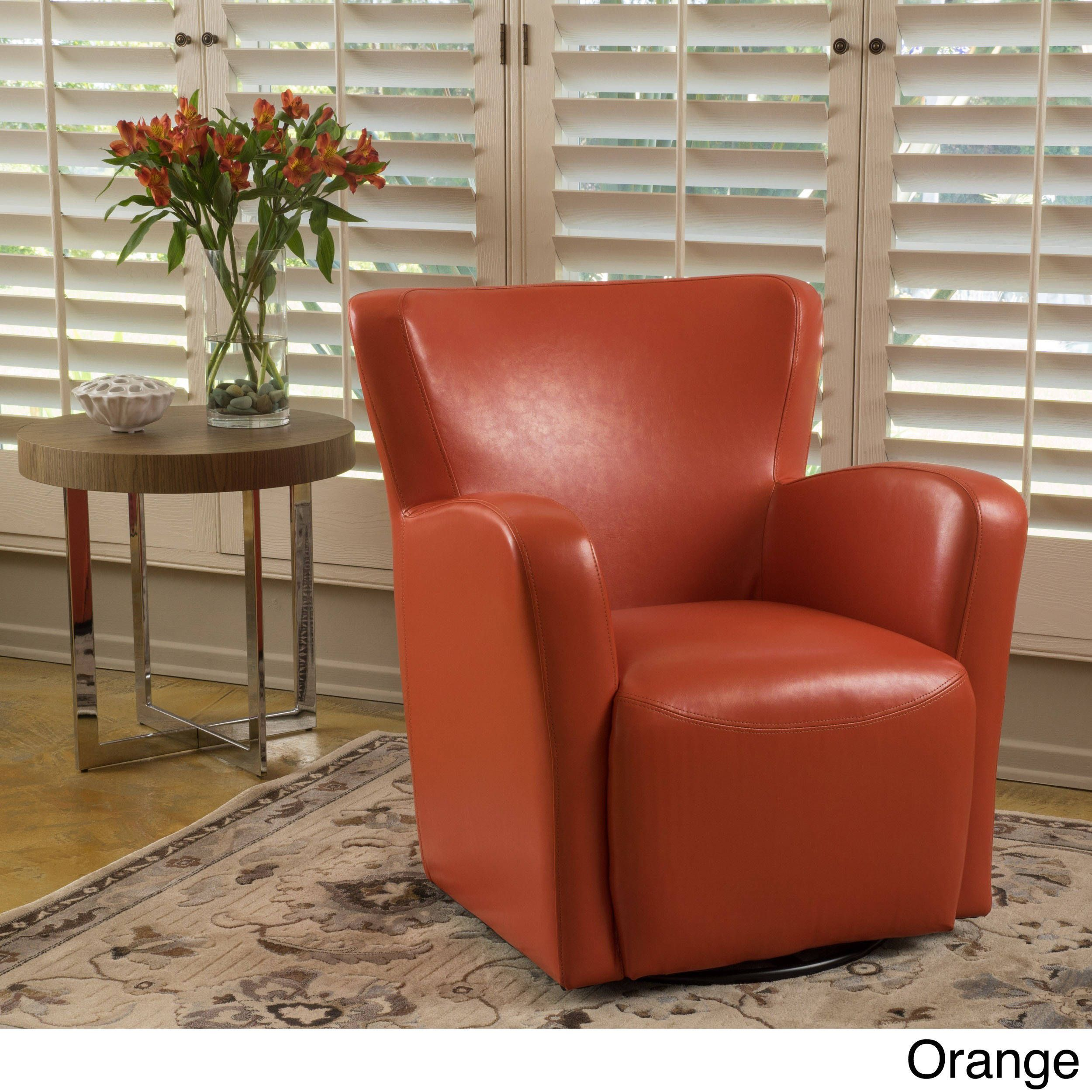 Angelo Bonded Leather Wingback Swivel Club Chair