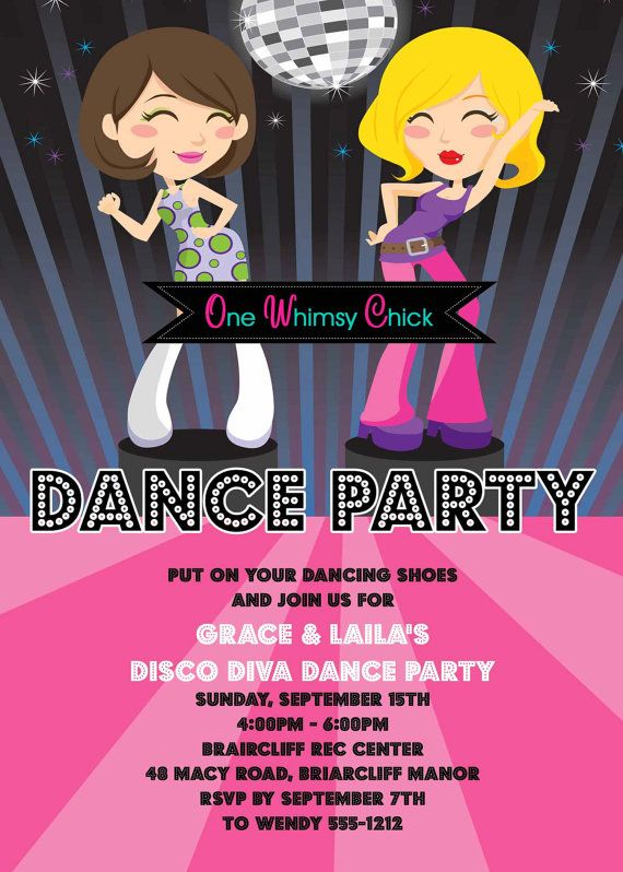 Disco Dance Party Birthday Invitations 70s Disco Party – Dance Party Invites