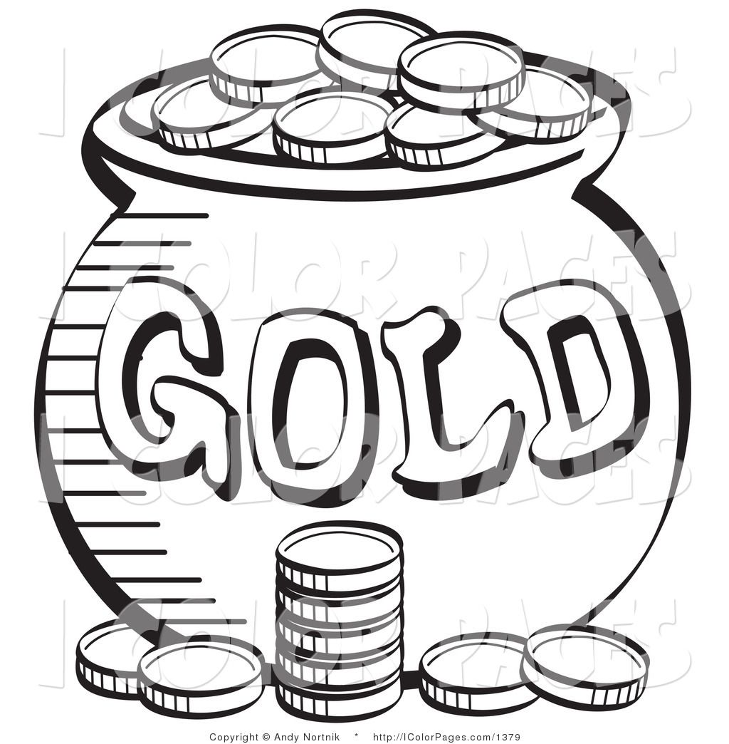 Coloring sheet leprechaun - Sant Patricks Money Color Sheet Royalty Free Vector Coloring Page Of A Stack Of Coins