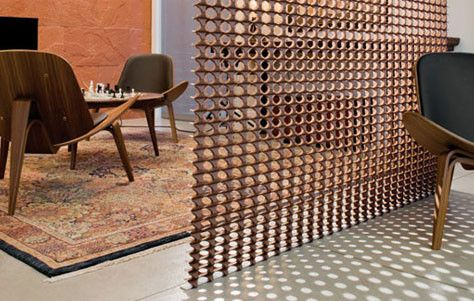 warm wood textured room divider for home or office | interiors