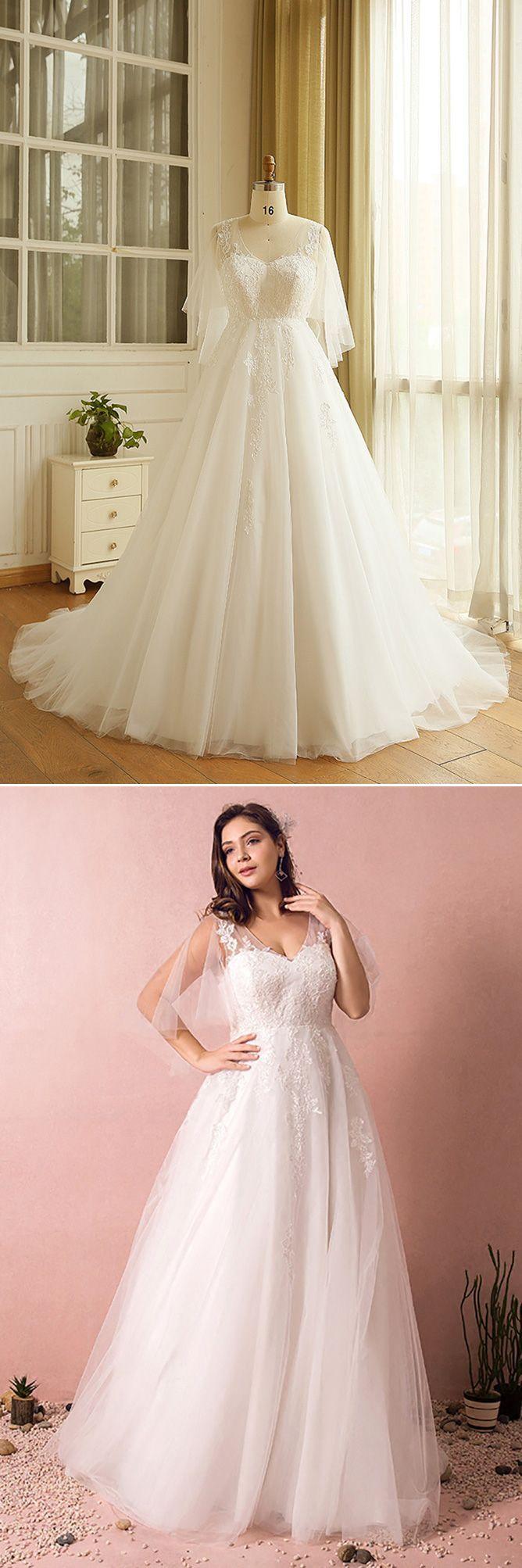 Plus size tulle beach wedding dress boho with sleeves mn