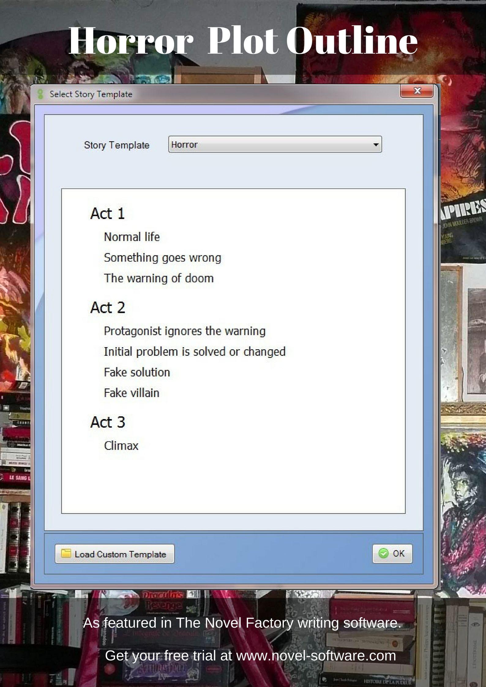 A horror plot outline  Story templates / genre based novel
